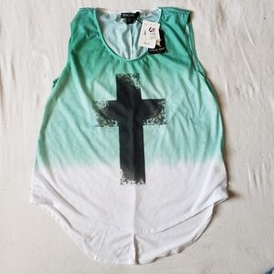 NWT Living Doll Ombre Cross Tunic Tank Top
